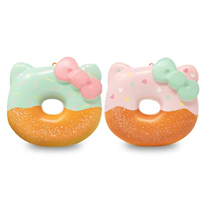 Sanrio Hello Kitty Donut Slow Rising Squishy Toy (Valentine Pink & Mint, 4 Inch, 2 Piece Set) [Birthday Gift Box, Party Favors, Gift Basket, Stress Relief Toys for Kids, Adults]: Toys & Games