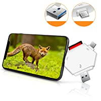 HENKUR Trail Camera Viewer SD Card Reader - 3 in 1 SD and Micro USB 3.0 SD Memory Card Reader to View Hunting Game Camera Photos or Videos for iPhone, Android, and Computer, No App Required.