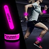 BSEEN LED Armband, 2 Pack High Visibility Light Up Sports Wristbands, Adjustable Glowing Bracelets for Runners, Joggers, Pet
