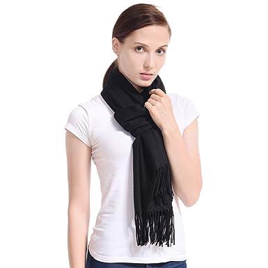 0b2a8564a7c33 LERDU Ladies Gift Idea Cashmere Scarf Fashion Warm Wool Wrap Shawl Winter  Stole for Women Black