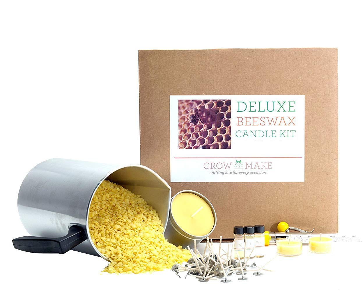 Grow and Make Deluxe Beeswax Candle Making Kit with Tin Containers - Make 6 of Your own Beeswax Candles at Home!