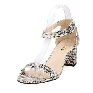 285db509797 ZriEy Women s Fashion Buckle Mid Chunky Heel Sandals Beige Snake Pattern  size 9.5