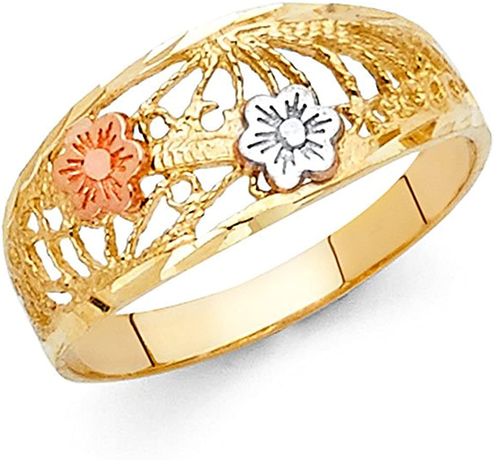 Flower Fashion Ring 14k Yellow White Rose Gold Filigree Design Band Solid