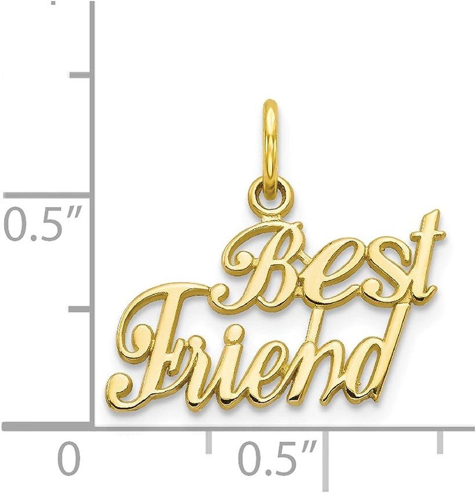 21mm x 18mm Solid 10k Yellow Gold Best Friend Pendant Charm