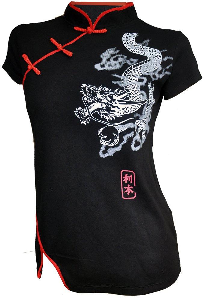 Amazing Grace Sexy Chinese Dress Top Dragon (Large, Black Dragon)