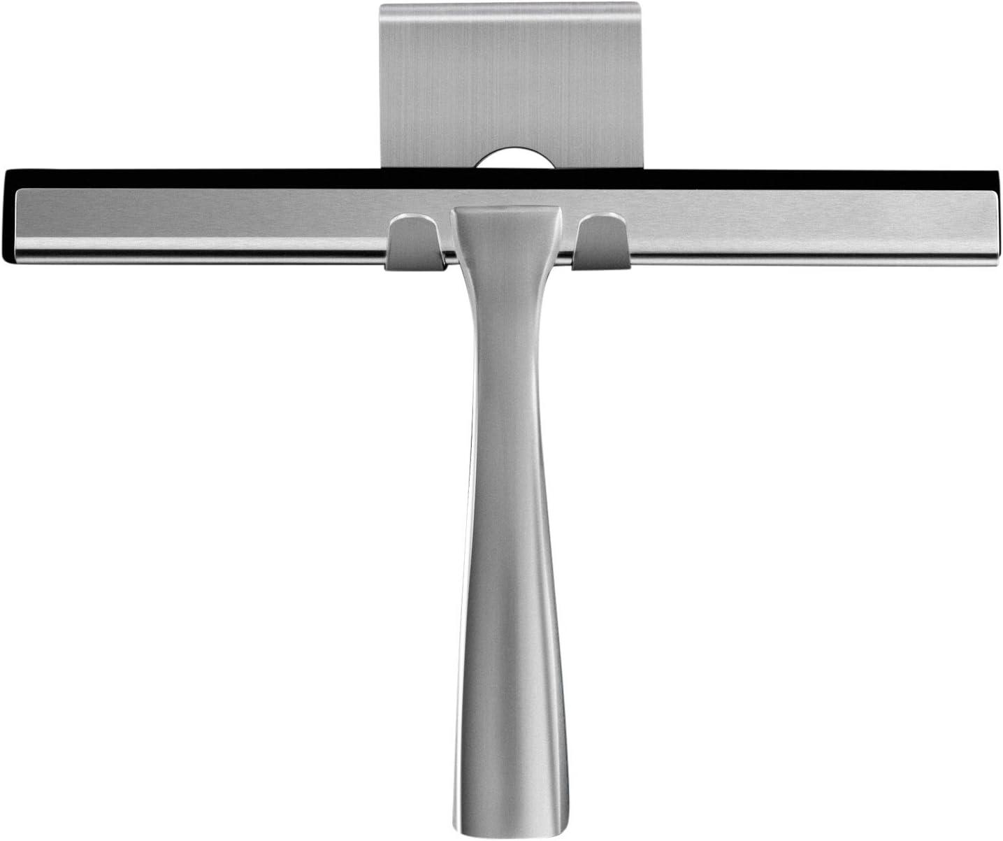 Ambrosya® | Extractor de Ducha Exclusivo de Acero Inoxidable | Extractor de baño Tirador de la Ducha Tirador de la Ventana Soporte del Limpiador WC (Acero Inoxidable (Cepillado))