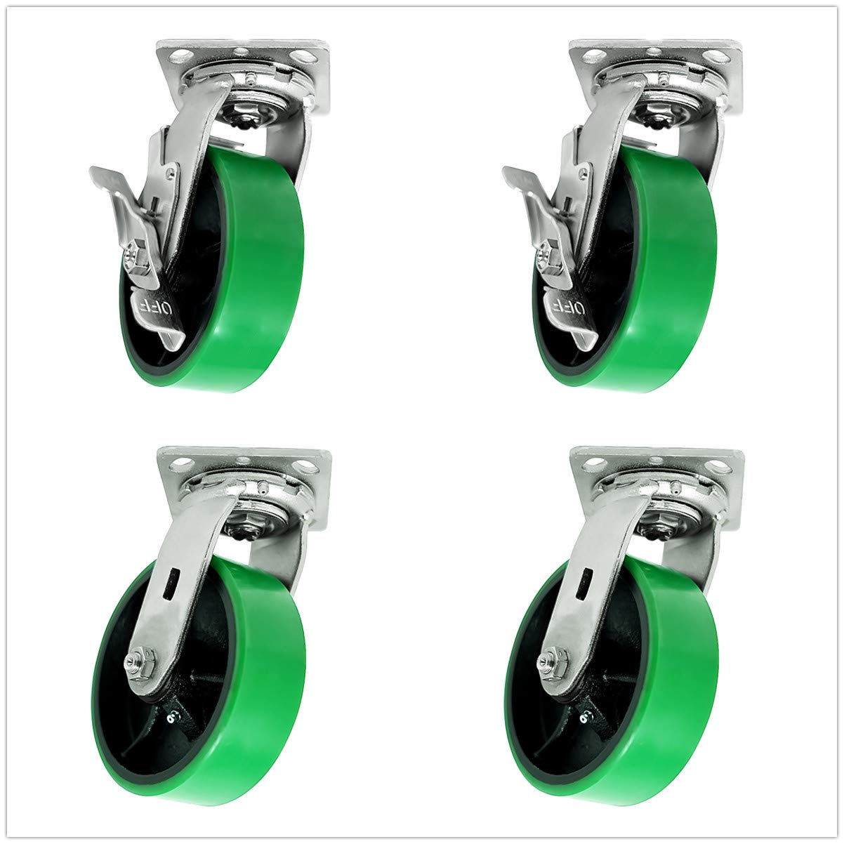 SY America 8'' 4 Pack Plate Caster, Heavy Duty Polyurethane Mold on Steel Wheel w/Roller Bearing Top Plate Caster 5000 lbs Total Capacity (8 inches Pack of 4, Green, 4 Swivel 2 w/Brake)