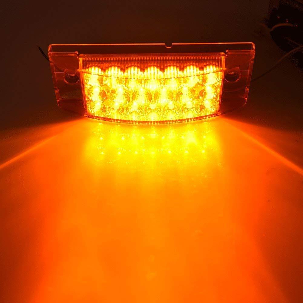 NPAUTO 2pcs 6 Amber LED Side Light Rectangle Turn Signal Light Waterproof 20 LED Tail Stop Marker Light Clearance Light for Truck Trailer Boat Marine