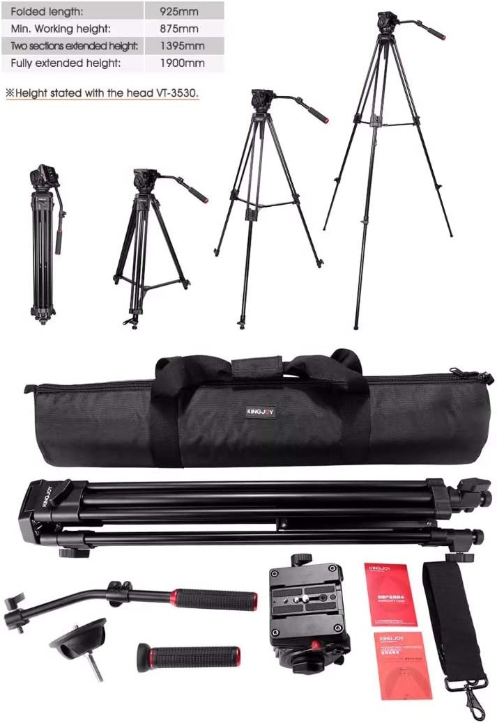 WSJ Camera Tripod Lightweight Hydraulic Damping Head Professional Frame Up to 1900mm 360/° Rotating Platform Suitable for SLR and Recorder