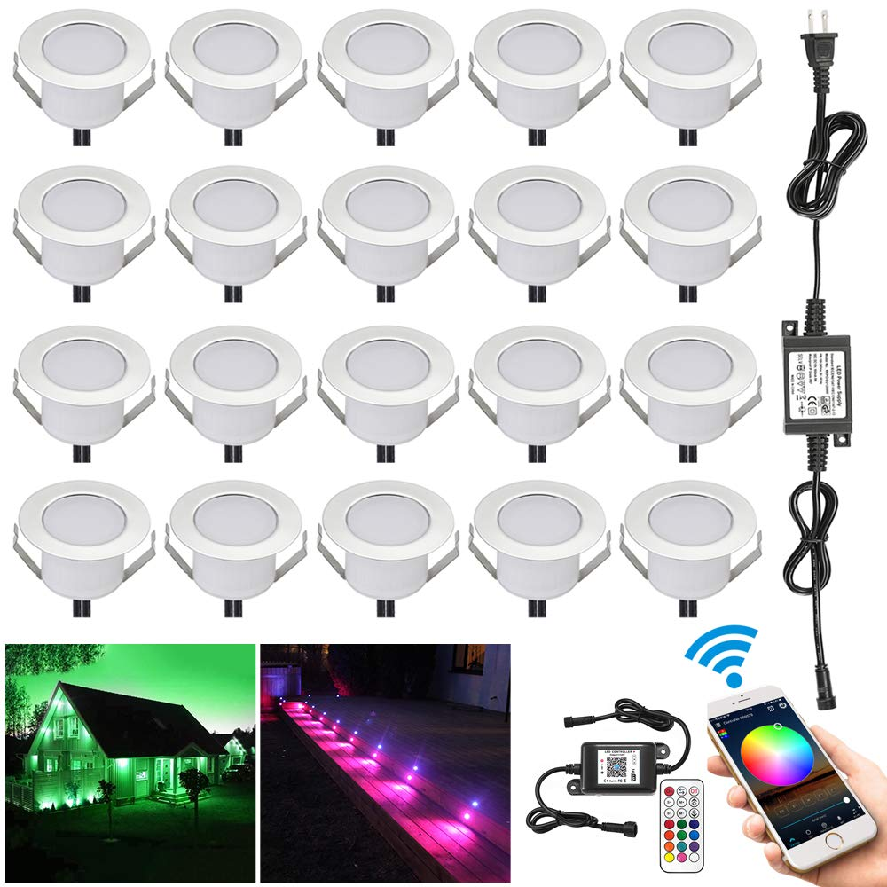 WiFi RGB Deck Lights, FVTLED 20pcs Φ1.85'' WiFi Controller Low Voltage LED Deck Lights Kit Work with Alexa Google Home WiFi Wireless Smart Phone LED Step RGB Lights