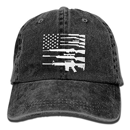 Gun American Flag Patriotic USA Pride Washed Retro Adjustable Cowboy Cap Leisure Hats For Adult Unisex - Flag Patriotic Decal