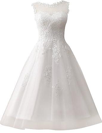 Brautkleid Hochzeitskleider Damen Brautmode Festkleid Tull Spitze A