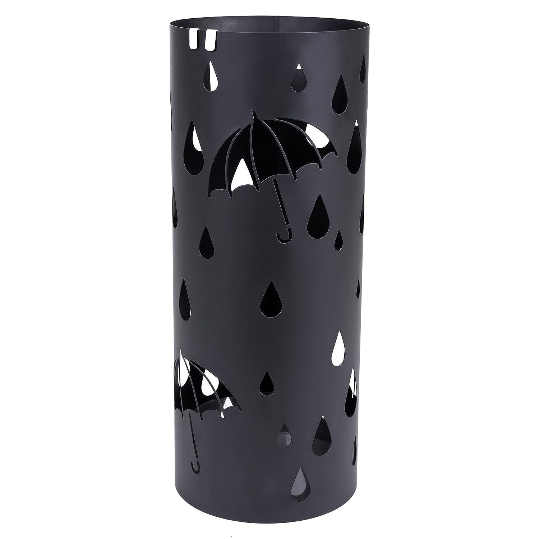 Songmics Porta ombrelli Portaombrelli 49 cm Bianco in ferro tondo Con Gancini e Vaschetta Scolapioggia LUC23W