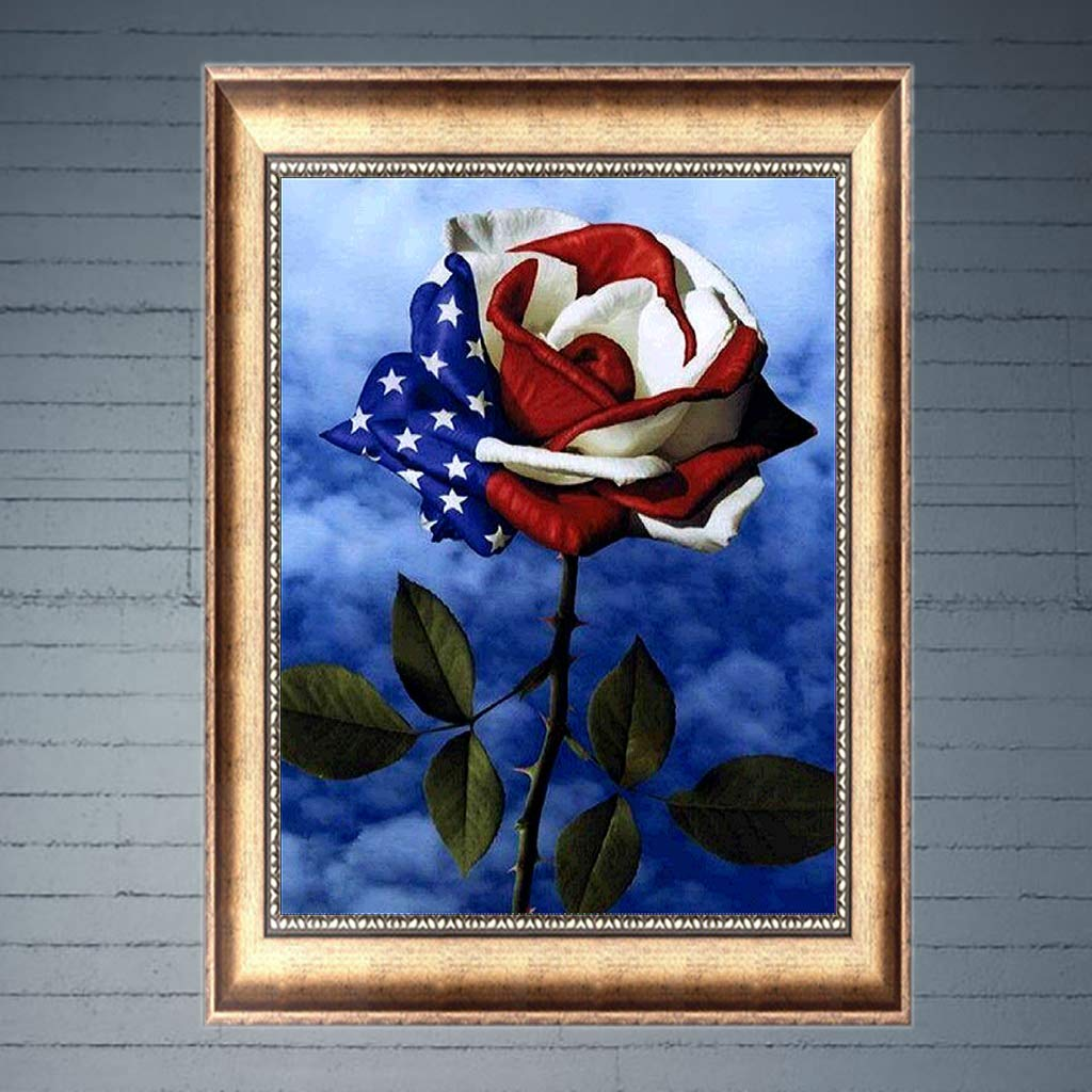 Full Drill Needlework Embroidery Cross Stitch Kit Rhinestone Pictures Arts Craft for Home Wall Decor American Flags Rose 30 x 40cm Dinfoger 5D Diamond Painting Set by Number Kits