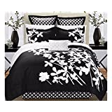Chic Home Iris 7-Piece Comforter Set with Four Shams and Decorative Pillow, Queen Size, Black, Bedskirt