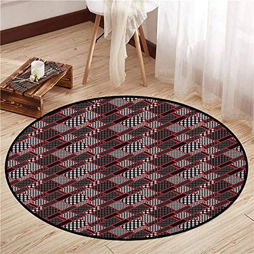 (Skid-Resistant Rugs,Red and Black,Geometric Rectangle Frames Retro Patterns Polka Dots and Houndstooth,Rustic Home Decor,2'11