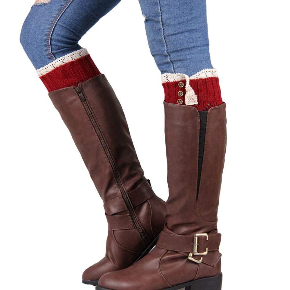 2092867c5 Highpot Women Button Lace Trim Knit Leg Warmer Stretch Boot Cuffs Boot Socks  (Black) at Amazon Women s Clothing store