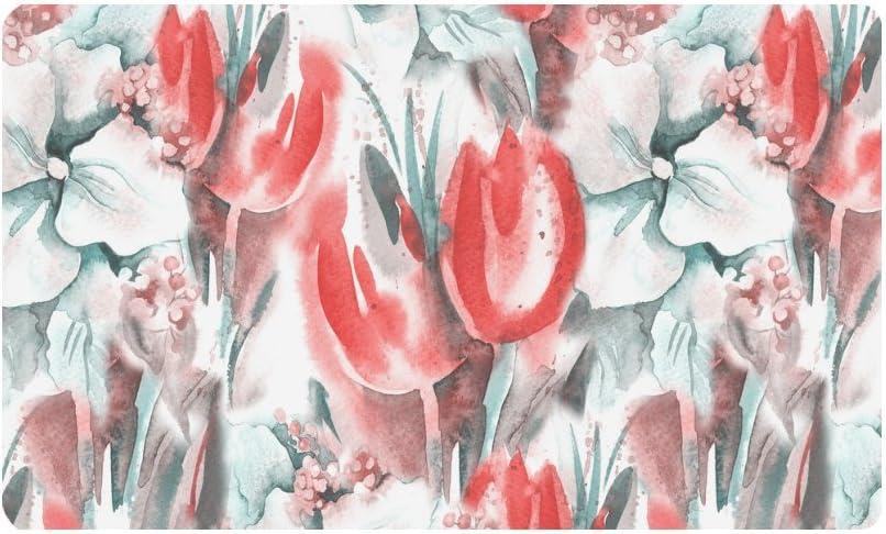 InterestPrint Watercolor Floral Tulips Doormat Indoor Outdoor Entrance Rug Floor Mats Shoe Scraper Door Mat Non-Slip Home Decor, Rubber Backing Large 30
