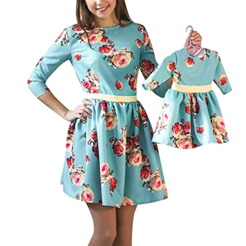Pingtr Mom&Me Matching Floral Printed Dress, New Spring Fashion Floral Printing Three Quarter Sleeve A-Line Dress Above-Knee Sundress Slim Splice Dress For Women and Baby Girls
