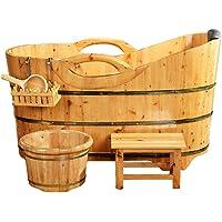 NQFL Baignoire Sauna Tonneau en Bois Baignoire Baignoire Sauna Hôtel Hot Spring Adult Bath Barrel (Main Courante)
