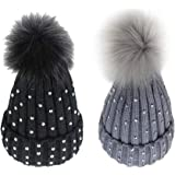 d2488eee40f48 2 Pack Baby Kids Winter Warm Beanie Knit Hat Toddler Boys Girls Crochet Fur Pom  Pom