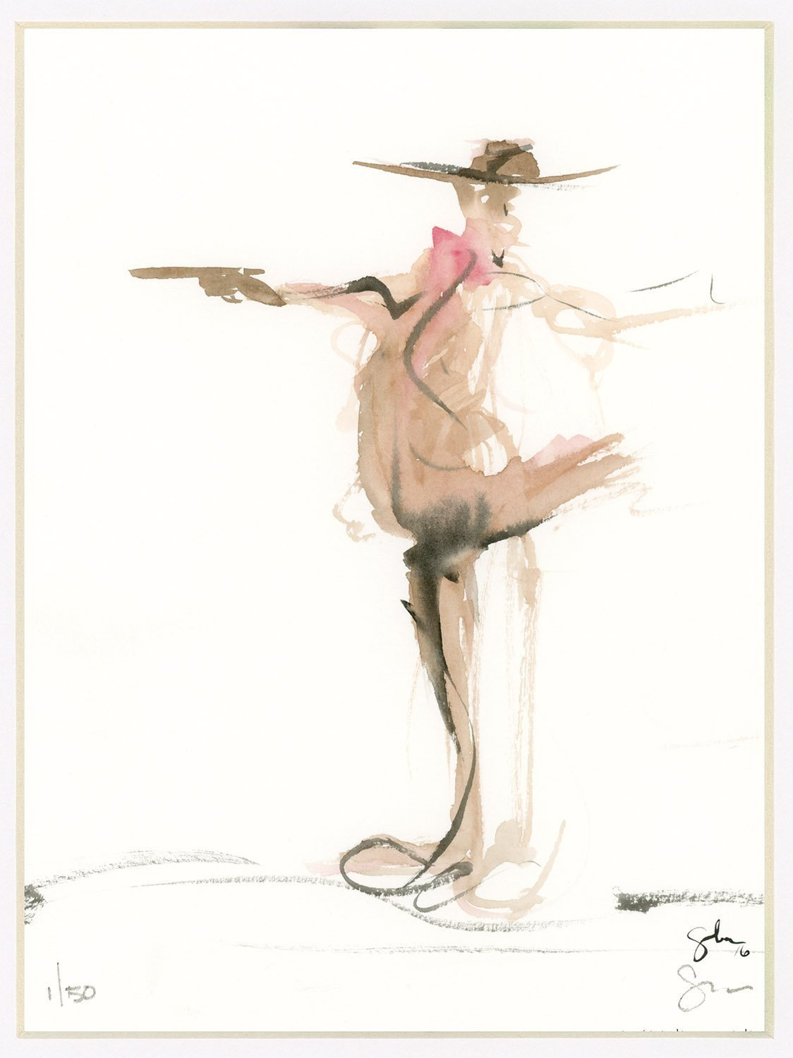 Limited edition Signed Print from original watercolor painting figure