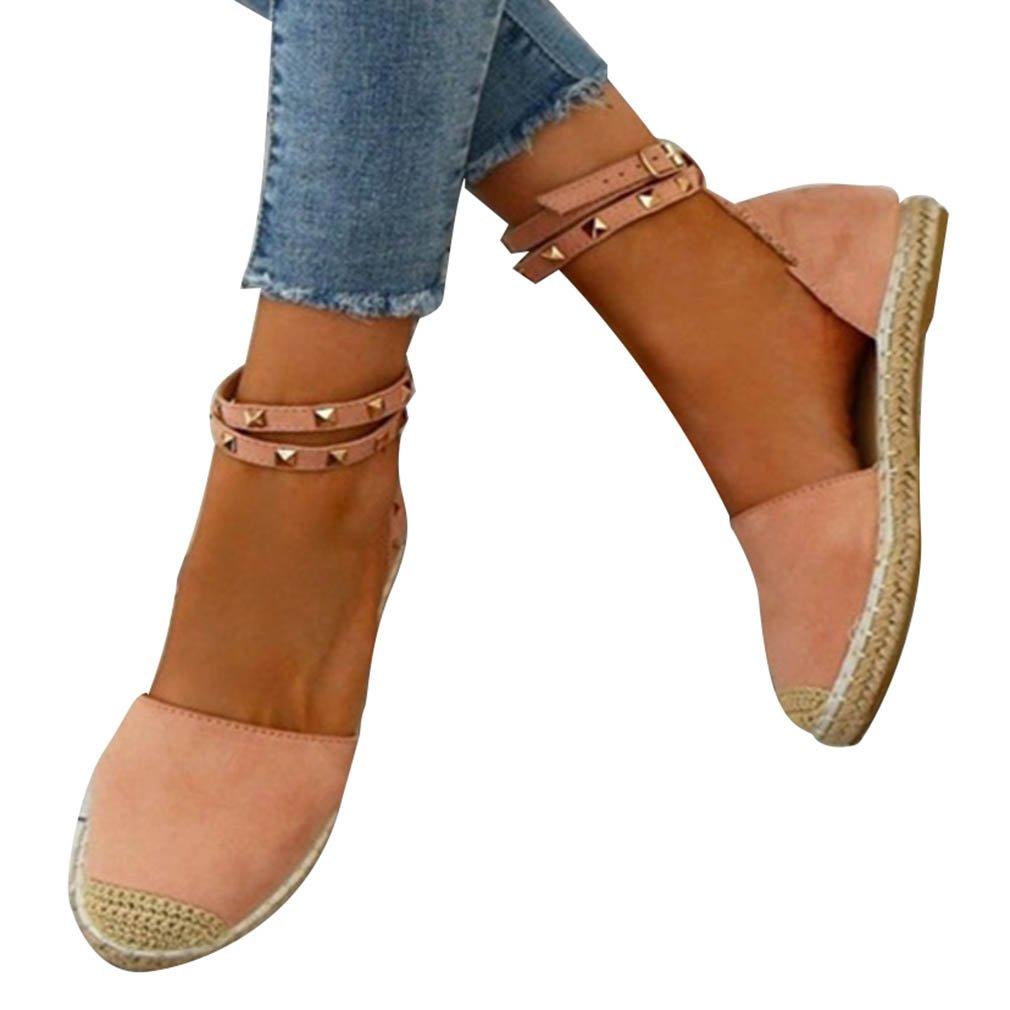 jianhui Donne Sandali - Moda Estive Scarpe Casual Le Signore Sandali Piatto Scarpe Estate Scarpe da Spiaggia Lace-up Sandali Scarpe PlatPerm Sandali con Rivetto  -