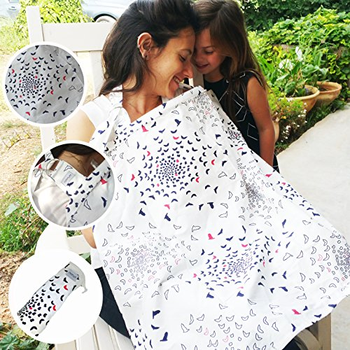 Nimnum Breastfeeding Nursing Cover Apron - 100% Soft Breathable Cotton - Includes Baby Bandana and Carrying Bag (Spirit)