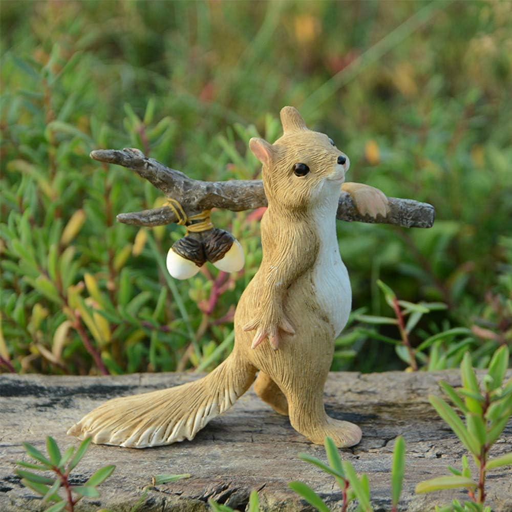 Maansfy Miniature Fairy Garden Figurines Exploring Resin Squirrel Statue Outdoor Accessories Mini Terrarium Decor