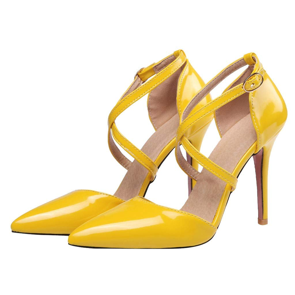 OutTop(TM) Women's High-Heeled Sandals Ladies Cross Straps Pointed Toe Thin Heels Patent Leather Sandals Shoes (US:8.5, Yellow)