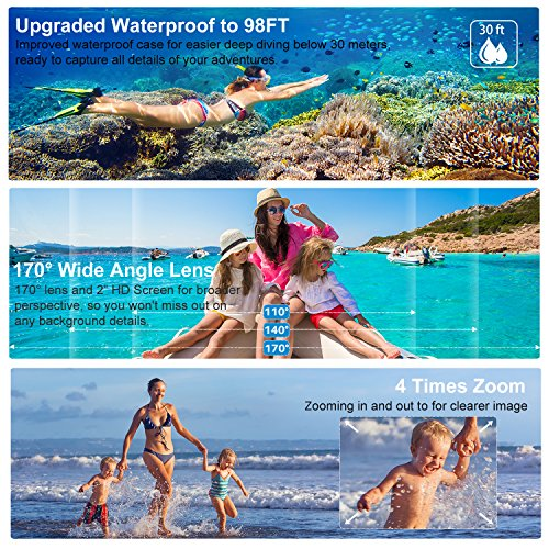 Action Camera, ieGeek 4K 20MP WiFi Waterproof Sports Cam Ultra HD Underwater Camera DV Camcorder EIS Image Stabilizer 170 Degree Wide-Angle with 2 Battery/External Microphone/Carry Case/Accessory Kit by ieGeek (Image #3)