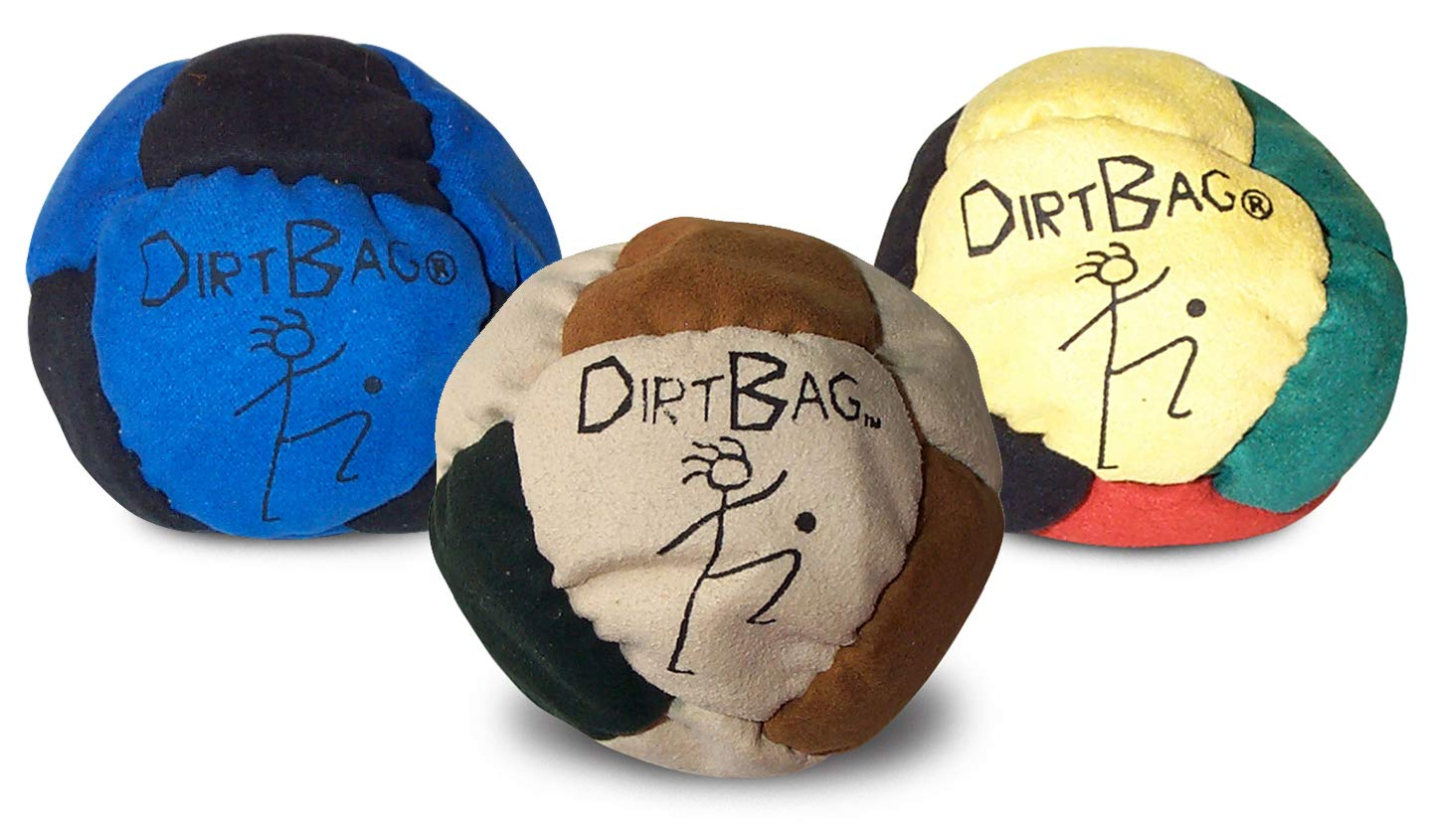 Dirtbag Footbag Classic Sand-Filled Hacky Sack Three Pack - Assorted Colors by World Footbag