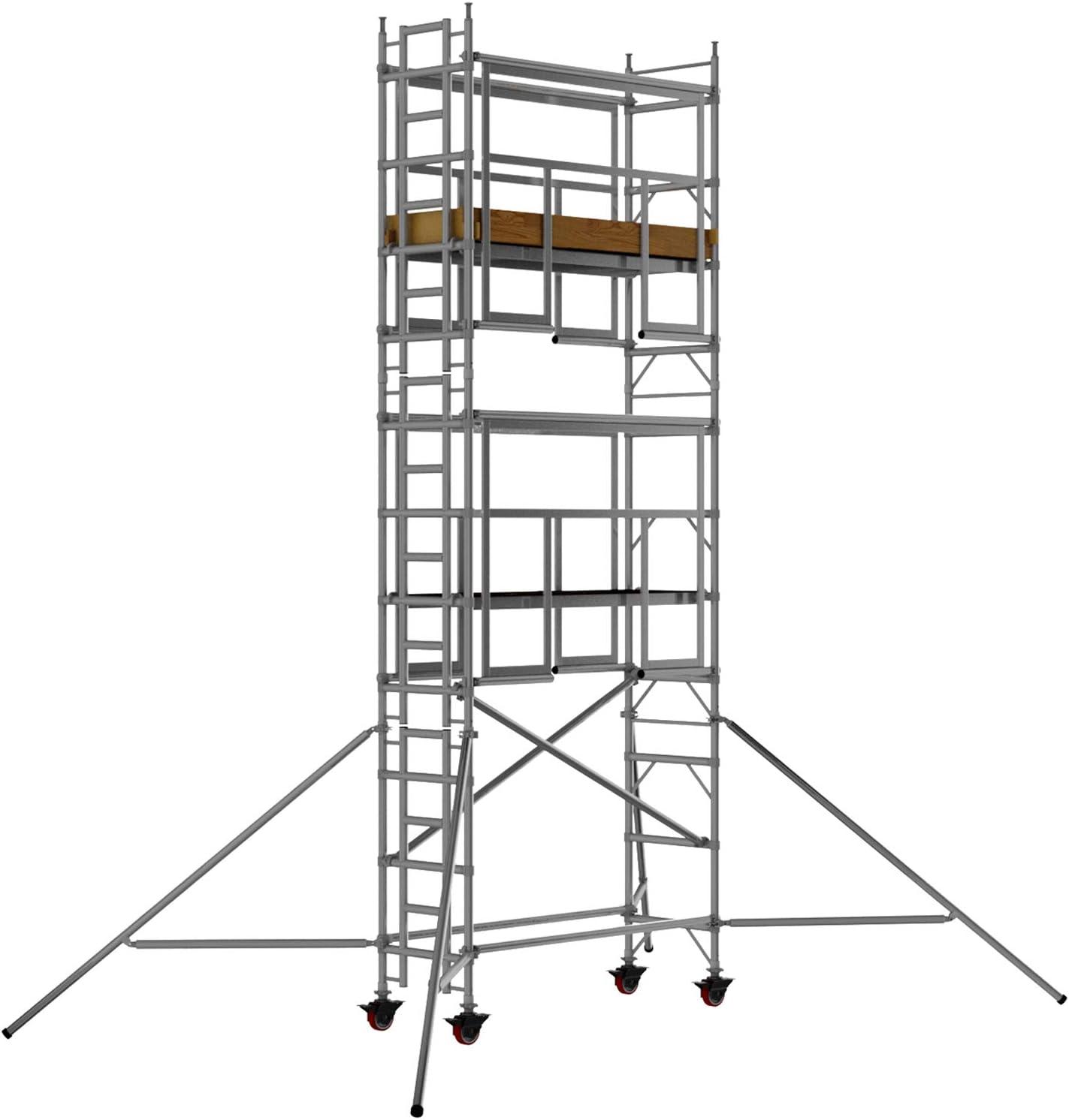 Torre de andamio profesional de 3,6 m de altura – 2 m x 0,7 m (ancho x profundidad) – Plataforma de seguridad avanzada AGR – Escalera de seguridad industrial de un solo