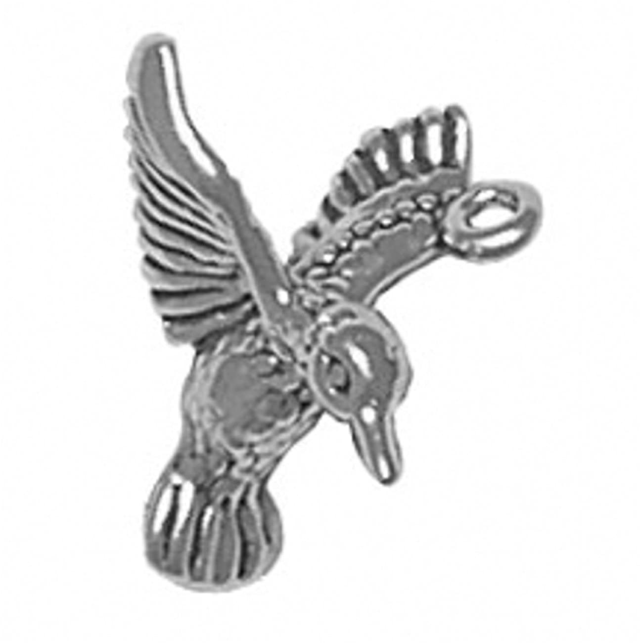 Sterling Silver 3D Flying Hummingbird Looking Down Charm