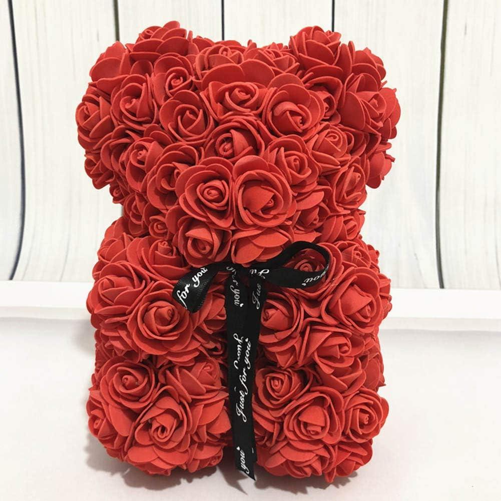 Sugeryy Rose Ours /éternel Fleur Ours en Peluche Fleurs artificielles Saint Valentin Anniversaire de Mariage Anniversaire Cadeaux Jouets d/écoration pour Petite Amie Femme