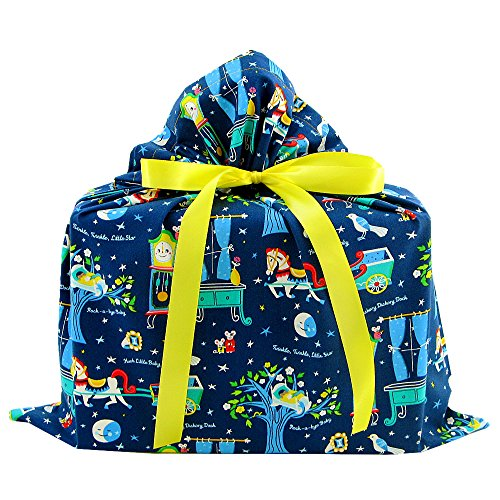 Nursery Rhymes Reusable Fabric Gift Bag for Baby Shower or Child's Birthday (Medium 17.25 Inches Wide by 18 Inches (Nursery Rhyme Fabric)