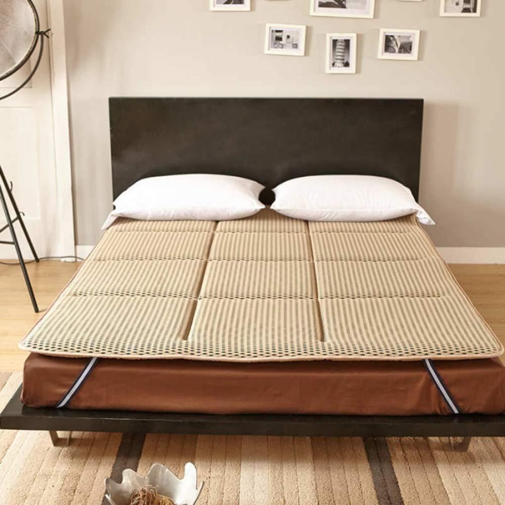 WJH Japanese Tatami futon, Fluffy Breathable Mattress, Antibacterial Anti-mite Double Sleeping pad Breathe Mattress Topper Protector-Light tan 60X120cm(24x47inch)