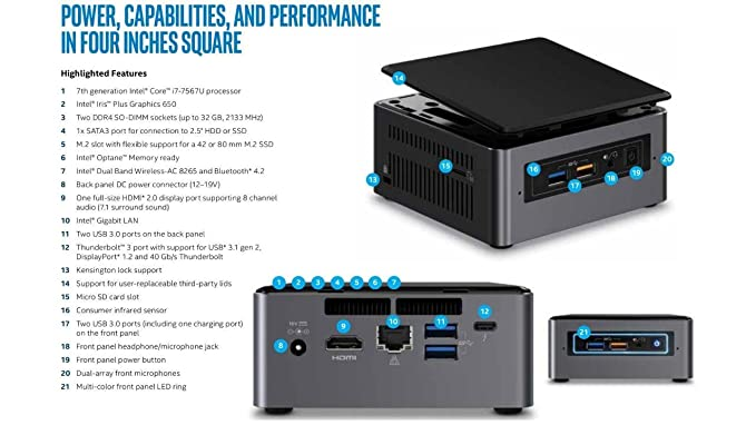 Amazon.com: Intel NUC NUC7i7BNH Mini PC/HTPC, Intel Dual-Core i7-7567U Upto 4.0GHz, 16GB DDR4, 1TB SSD, WiFi, Bluetooth, Thunderbolt 3, 4k Support, ...