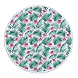 iPrint Thick Round Beach Towel Blanket,Watercolor,Tropical Ferns with Flowers Exotic Hawaii Floral Arrangement Blossoming Nature Decorative,Seafoam Pink,Multi-Purpose Beach Throw
