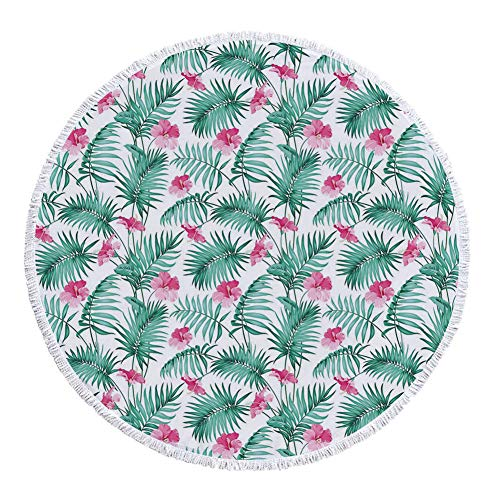 iPrint Thick Round Beach Towel Blanket,Watercolor,Tropical Ferns with Flowers Exotic Hawaii Floral Arrangement Blossoming Nature Decorative,Seafoam Pink,Multi-Purpose Beach Throw by iPrint