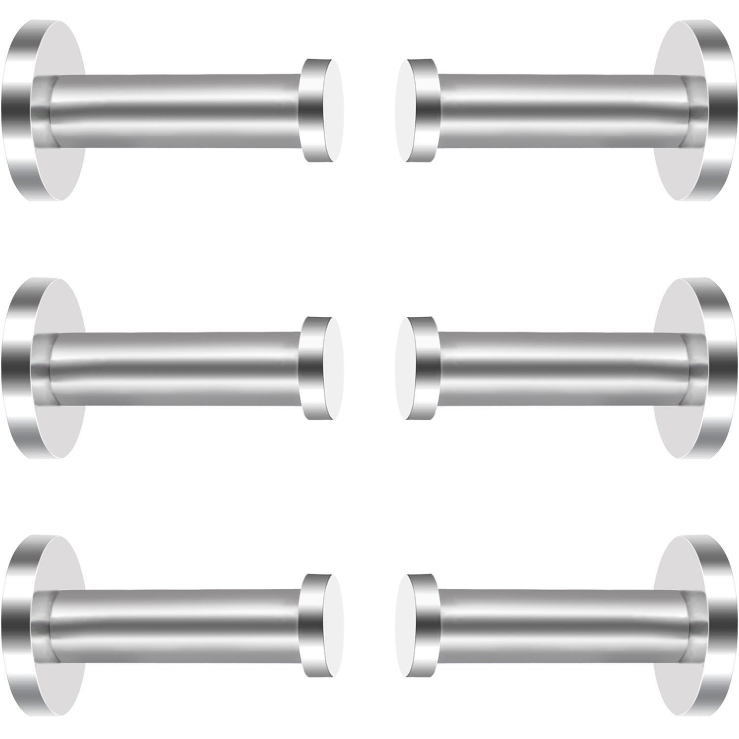 eBoot 6 Pieces Stainless Steel Wall-Mount Robe Hook Coat Hook Towel Wall Hook, Brushed Nickel (2 Inch)