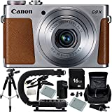 Canon PowerShot G9 X Digital Camera (Silver) 16GB Bundle 12PC Accessory Kit. Includes Manufacturer Accessories + 16GB Memory Card + 2 Replacement NB-13L Batteries + AC/DC Rapid Home & Travel Charger + Pistol Grip/Table Top Tripod + MORE - Internationa
