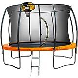 Kahuna Trampoline 14 ft with Basketball Set Pad Net Mat Spring Round Enclosure - Orange