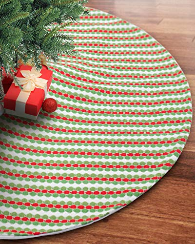S-DEAL 48 Inches Wool Knitted Christmas Tree Skirt Double Layers Carpet Décor for Party Holiday Xmas Ornaments Gift Light Red Green and White