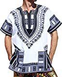 RaanPahMuang Traditional African Dashiki Shirt in Light Thin Grade Batik Cotton, Large, White Black