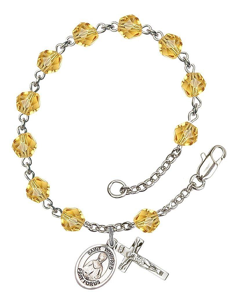 November Birth Month Bead Rosary Bracelet with Patron Saint Petite Charm 7 1//2 Inch