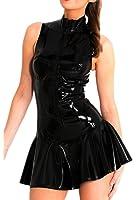 H.X Sexy Women's PVC Zip Front Clubwear Dress Lingerie Skirt