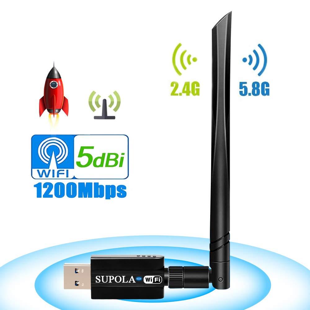 USB Wireless Adapter 1200Mbps, SUPOLA Wireless USB Wifi Adapter 5.8GHz/2.4GHz Dual Band 802.11ac Wireless Desktop Adapter with 5dBi External Antenna, Support Windows 10/8/8.1/7/XP, Mac OS X 10.6-10.14