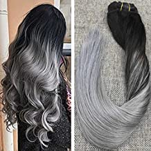 Ugeat 18inch Full Head 9Pcs 120Gram Clip in Extensions Real Human Hair Clip in Remy Hair Extensions #1B Black to Silver Grey Color for Salon Quality Thick End Clip Hair Extensions