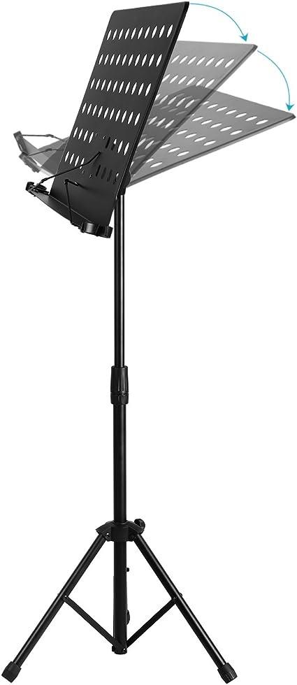 Neewer Orchestra Soporte Partitura con tarea pesada Hierro Tubo, abrazaderas soporte del micrófono, Bookplate desmontable y plegable Base trípode, Altura 23-43/58-108cm Ajustable, Negro: Amazon.es: Electrónica